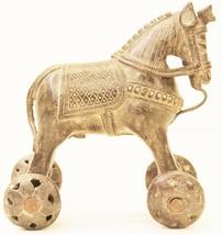 Horse Statue Vintage Toy Brass Wheel Home Decor Collectible Decorative U... - $664.05