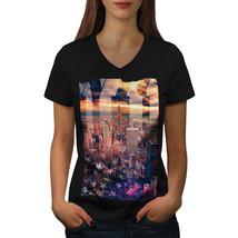 Landscape Photo New York Shirt City Life USA Women V-Neck T-shirt - $12.99+