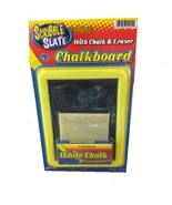 SCRIBBLE SLATE CHALKBOARD WITH CHALK AND ERASER - 3 PIECES WHITE CHALK N... - $5.20