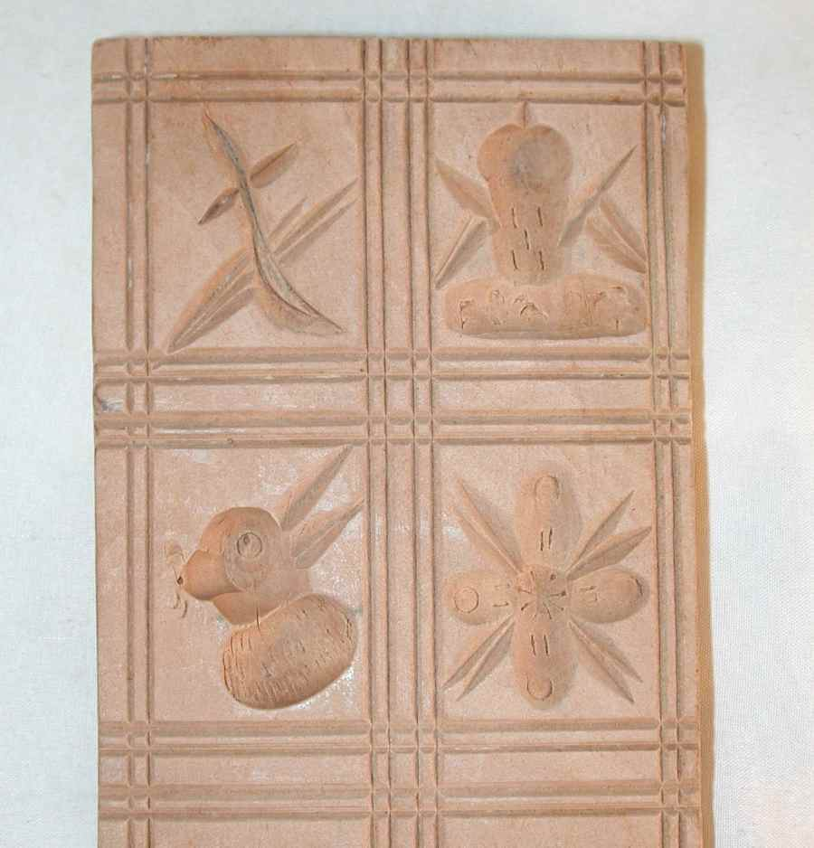 Carved Wood Springerle Cookie Mold Ten Designs Birds Flowers Nuts Fish & Bunny