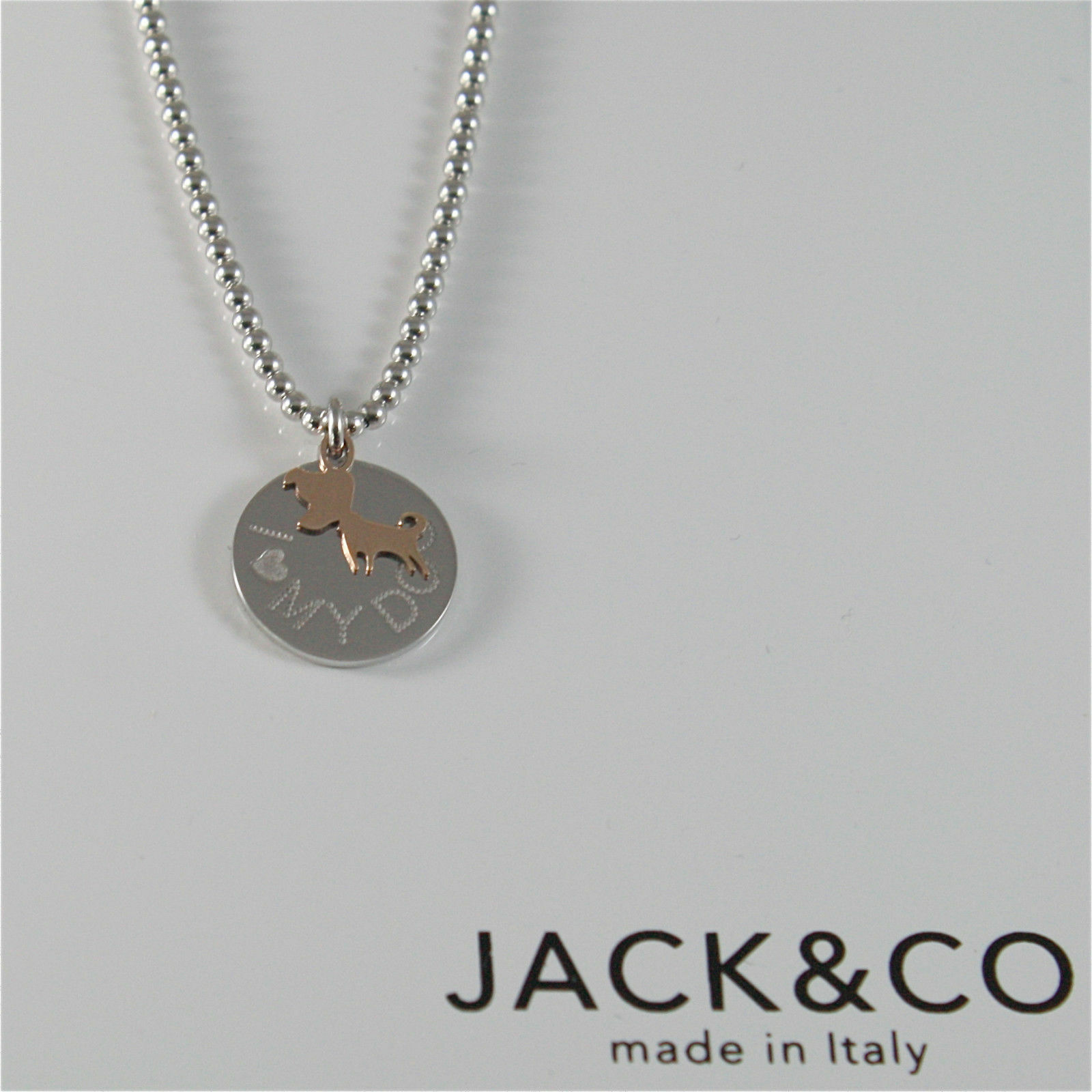 Necklace to Balls Silver 925 Jack&co with Dog Jack in Rose Gold 9KT JCN0549