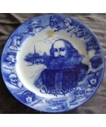 Antique Flow Blue Royal Doulton Shakespeare Plate – Sweet Swan of Avon – RARE - $29.69