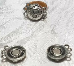 THREE STRAND MAGNETIC FINE PEWTER CLASP SET - 12x19x10mm image 2