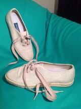 Easy Spirit 7.5AA Tan Beige Twill Tweed Espadrille Sneakers Anti Gravity Shoes - $29.69