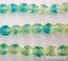 25 6 mm Czech Glass Firepolish Beads: Green/Blue - $2.07