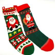 Vintage HALLMARK Acrylic Knit Christmas Stockings Santa Lot of 2 - $17.88
