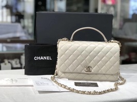 BNIB AUTHENTIC CHANEL 2018 WHITE Quilted Calfskin Top Handle Flap Bag RECEIPT