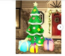 NEW Large Christmas Tree 7Ft Tall w/ Gifts Inflatable Lighted Yard Decor... - $84.64
