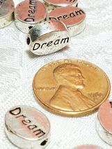 DREAM Word FINE PEWTER Oval DISC BEAD - 11mm L x 9mm W x 3mm D Hole 1.5m image 3