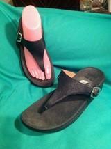 Fitflop Skinny Women's 6M Black Wobbleboard Sandal Thong Flip Flop Wedge 458-001 - $26.92
