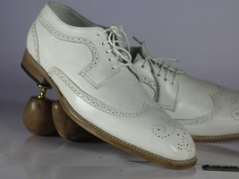 Handmade Men's White Heart Medallion Wing Tip Lace Up Dress/Formal Leather Shoes image 2