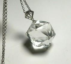 60 Sided Clear Quartz Crystal Natural Silver pendant Reiki Healing  k16 - $45.49