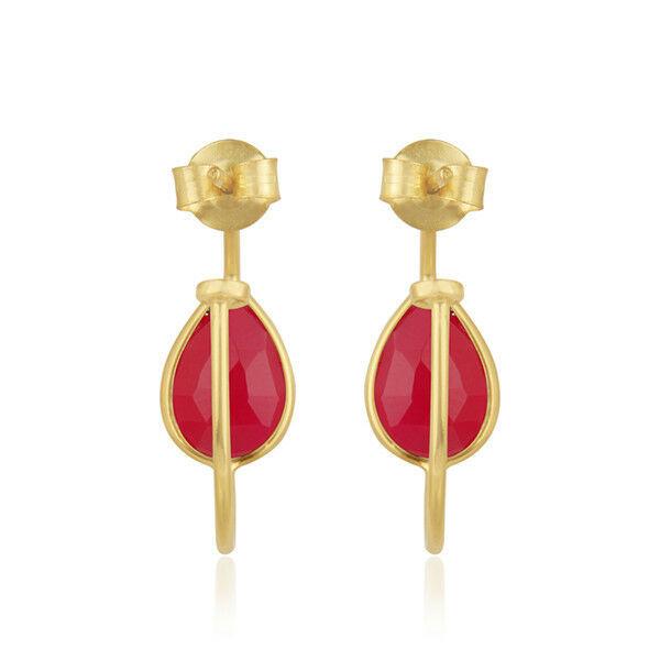 Pink Chalcedony Gemstone Designer 18k Gold Plated Silver Girls Hoop Earrings image 3