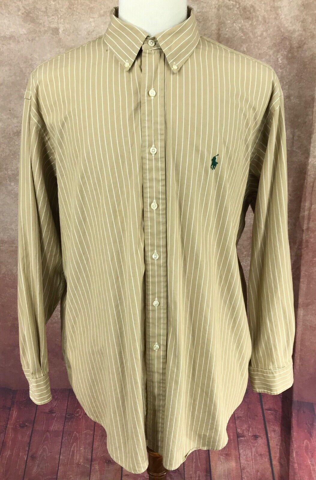 Ralph Lauren Polo Yarmouth Button Down Long Sleeve Brown Stripe Men's 17.5 XL
