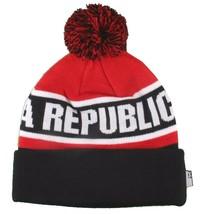 Dissizit! Cali Bear California Red Black Pom Beanie Slick LA Compton Winter Hat image 2