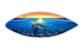 Sunset Sea Turtle handcrafted wooden surfboard nautical carved fish wall... - $197.54 CAD