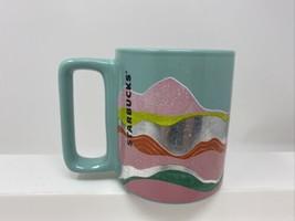 Starbucks Spring 2020 Teal Wave Silver Foil Ceramic Mug 12oz Layer Waves... - $18.80