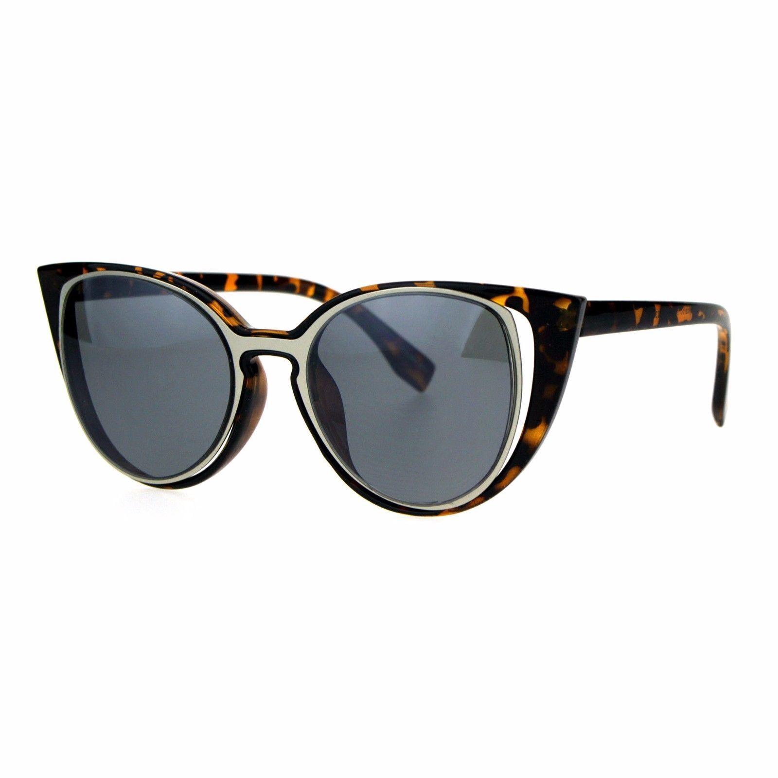 Cateye Fashion Sunglasses Unique Open Double Frame Womens UV 400