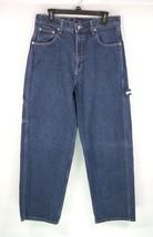 Vintage Tommy Hilfiger Jeans Mens Sz 33X32 Blue Denim Carpenter Flag Patch - $28.50