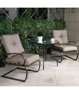 Bistro Patio Furniture Set Outdoor Wrought Iron Tempered Glass Round Tab... - $259.98