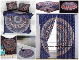 Elephant Mandala Round Floor Pillow Tapestry Curtain Duvet Cover Queen S... - $558.09