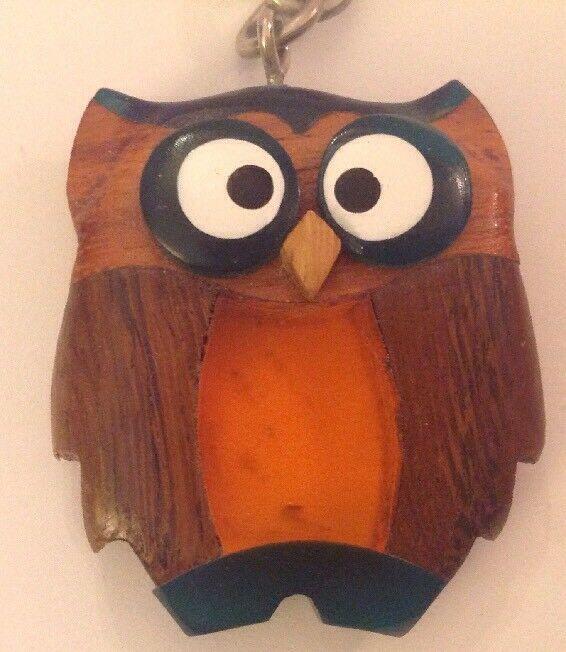 Owl Keychain Inlaid Wood Resin Figural Bird Brown Green Amber Key Ring image 2