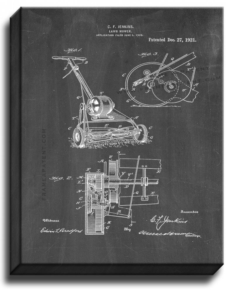 Primary image for Lawn Mower Patent Print Chalkboard on Canvas