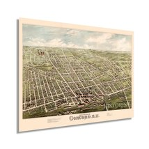1875 Concord New Hampshire Map - Vintage Concord Wall Art Poster - Old Concord N - $34.99+