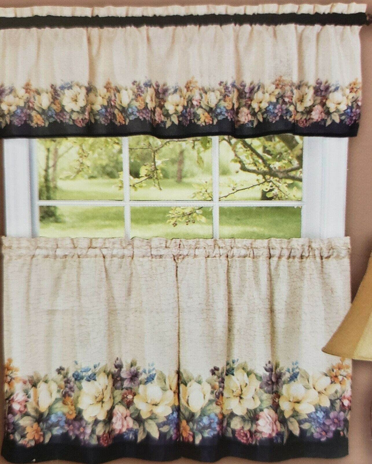 "Primary image for Printed Curtains Set: 2 Tiers & Valance (58""x13"") FLOWERS, ANTIQUE FLORAL, Achim"