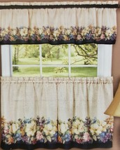 "Printed Curtains Set: 2 Tiers & Valance (58""x13"") FLOWERS, ANTIQUE FLORA... - $17.81"