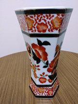 Vintage Tong -Chi Chinese Orange White Porcelain Green & Gold Leaves 6 Sided Vas image 2