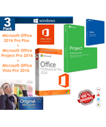 3 PACK Microsoft pro 2016 Key Licenses:Office pro plus for 1PC+ Project ... - $17.99