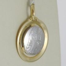 Anhänger Medaille Gelbgold Weiß 750 18K, Madonna und Christus, Maria und Jesus image 1