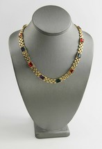 ESTATE VINTAGE Jewelry 80's 90's HIGH END BIG GEM COLORFUL GLASS CHAIN N... - $25.00