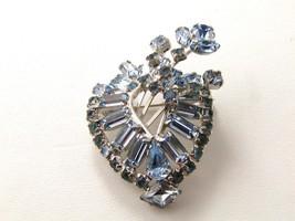 Gorgeous Vintage Blue Rhinestone Brooch - $24.74