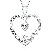 FANCYCD Holiday Deals Week I Love You to The Moon and Back Love Heart Ne... - $24.90