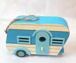 "Birdhouse (8Lx2Wx5H"") Birdfeeder Blue Retro Trailer Model - $13.98"