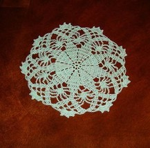 Hand Crocheted 9 Inch Light Green Doily - $8.50