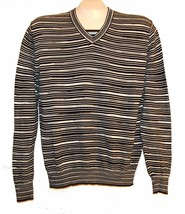 Sport Missoni Black White Striped Men's Cotton Italy V-Neck Sweater Shir... - $88.11