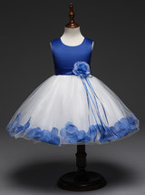 Lovely Royal Blue Wedding Flower Girl Dresses O-Neck Birthday Party Gowns Formal image 1