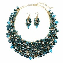 Bocar Fashion Faux Pearl Crystal Chunky Collar Statement Necklace (teal) - $29.36