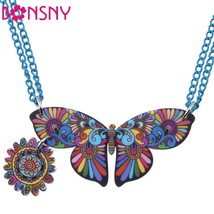 Butterfly Statement Necklace Pendant Acrylic Pattern 2016 News Accessori... - $13.91