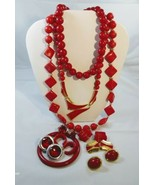 Red Costume Jewelry Lot 11 Piece - £13.94 GBP