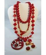Red Costume Jewelry Lot 11 Piece - £13.64 GBP