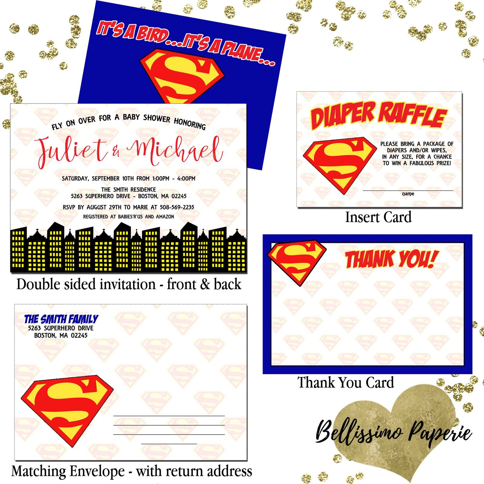 Superman Superhero Baby Shower Invitation and 50 similar items