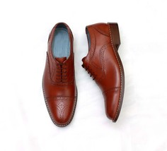 Handmade Men's Burgundy Two Tone Cap Toe Brogues Dress Oxford Leather Shoes image 2