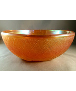 MARIGOLD CARNIVAL GLASS BOWL BY IMPERIAL GLASS CRACKLE PATTERN - $9.00