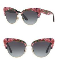Dolce&Gabbana Cat Eye Flower Garden Sunglasses Smoke Gradient Lens 52-17-140mm - $117.09