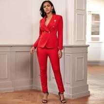 2 Piece Set Winter Red Blazer Buttons Pant Set Suit image 4