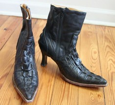 Rayo de Plata Botas US 7 MEX 24 Black Imitation Croc Leather Boots Heel - $29.45